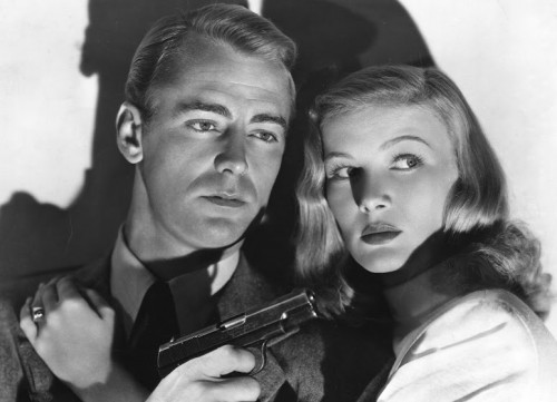 "Alan Ladd and Veronica Lake star in ""The Blue Dahlia,"" 1946, photo courtesy Photofest."