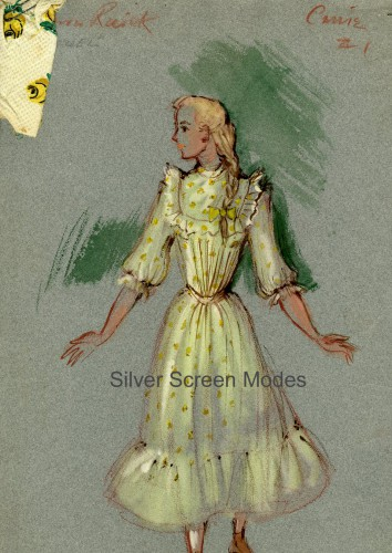 Costume sketch by Mary Wills of Barbara Ruick as Carrie