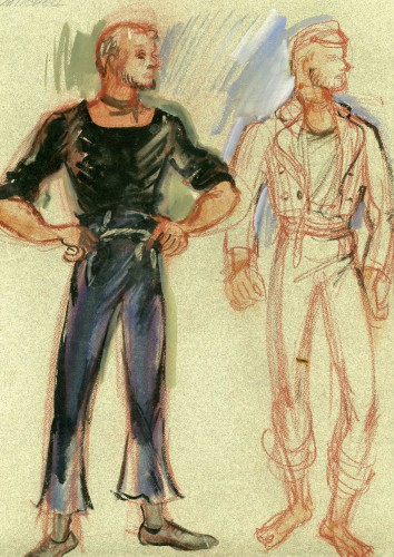 Costume sketch by Mary Wills for Cameron Mitchell as Jigger