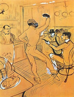 An American in Paris Chocolat dancing in the 'irish_american_bar', 1896 by Toulouse Lautrec