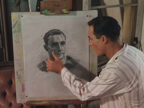 Kelly as Jerry Mulligan, in a very early scene, shows his unhappiness with his own image or in his ability to produce a self-portrait, which he will soon to deface