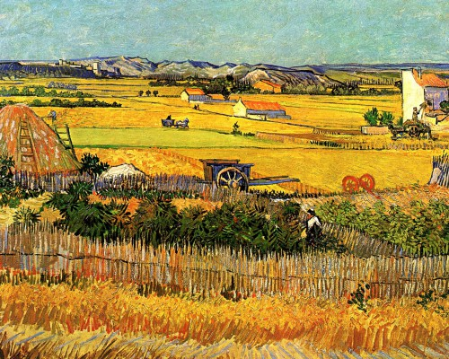 Lust for Life Harvest-At-La-Crau-With-Montmajour-In-The-Background-Vincent-Van-Gogh