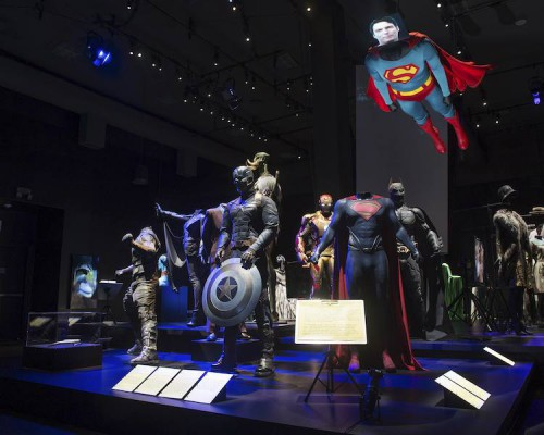 Superhero costumes are shown on display at the Hollywood Costume exhibit in Los Angeles