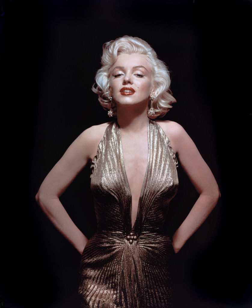 "Marilyn Monroe wearing a gold lame gown by Travilla from ""Gentlemen Prefer Blondes"" (1953)"