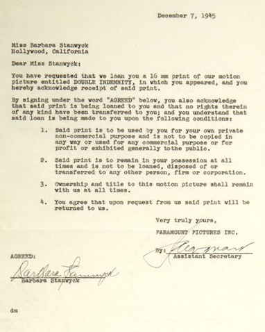 TCM Stanwyck contract
